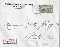 SYRIEN / Aleppo → RECOMMANDÉE-Brief Banque Francaise De Syrie/Filiale Di Alep 1936 - Syrie