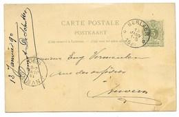 Sterstempel/cachet étoile  Entier 5 Ct    BERLAER  1890 - 1893-1900 Schmaler Bart