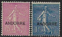 Andorre - 1ère Série -  Type Semeuse Lignée - N° 17 Et 18 Neufs Avec Charnière. - Andorre Français