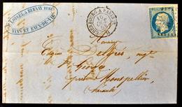 Lettre - Napoleon N°14 - Losange ChP1° + Ambulant De Jour Cherbourg à Paris 1er H (CL 1031) - Marcophilie (Lettres)