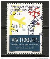 XIV Congrés Internacional De Viabilitat Hivernal, Año 2014, Un Timbre Oblitéré, Cachet Rond - Gebraucht