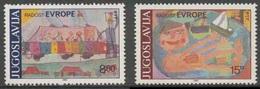 Jugoslavija Yugoslavia 1982 Mi 1945 /6 YT 1829 /0 ** Children's Drawings / Kinderzeichnungen - Schoolbus + In Bath - Kindertijd & Jeugd