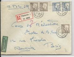 SUEDE - 1956 - ENVELOPPE RECOMMANDEE De VÄSTERAS Avec CONTROLE Des VALEURS (DOUANE) => PARIS