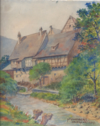 Dessin Sur Papier Lava Docelle / Maisons à Colombages Et Riviére / KAYSERSBERG/ IMP.Nigeney1949         GRAV187 - Gouaches