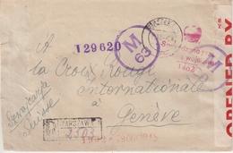 """POLOGNE : POUR LE CICR . A """" GENEVE """" . DIVERSES CENSURES . 1945 . - 1939-44: 2. WK"""