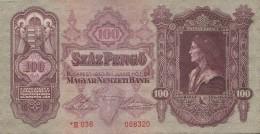 100 PENGO, MATTHIAS REX, MATYAS KIRALY, 1930, PAPER BANKNOTE, HUNGARY. - Hongrie