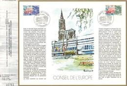 Sur Feuillet CEF , FDC 1983  Strasbourg . CONSEIL DE L'EUROPE . 2 Timbres . - FDC