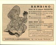 POUPEES - Publicité Issue D'une Revue De 1951 Et Collée Sur Carton - BAMBINO - Publicités