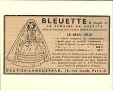 POUPEES - Publicité Issue D'une Revue De 1951 Et Collée Sur Carton - BLEUETTE - Publicités