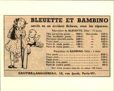 POUPEES - Publicité Issue D'une Revue De 1951 Et Collée Sur Carton - BLEUETTE Et BAMBINO - Publicités