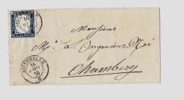 Duché De Savoie « AIGUEBELLE »LSI - 7,5gr. - Tarif à 20c. (1.1.1851/31.10.1959)S.N°15Aa (R.N°21c) - 20c. V. - Sardaigne