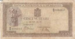 500 LEI, 1941, PAPER BANKNOTE,ROMANIA. - Romania