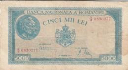 5000 LEI, COAT OF ARMS, 1945, PAPER BANKNOTE,ROMANIA. - Rumania