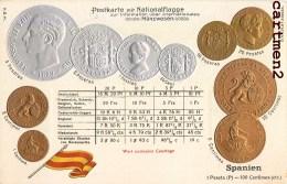 POSTKARTE MIT NATIONALFLAGGE SPANIEN ESPANA MONNAIE ESPAGNE PIECE BOURSE PESETAS CENTIMOS GAUFREE EMBOSSED COURTAGE - Monedas (representaciones)