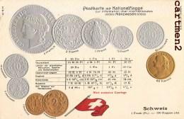 POSTKARTE MIT NATIONALFLAGGE FRANC SUISSE SCHWEIZ MÜNZWESEN PIECE MEDEAILLE COURTAGE BOURSE GAUFREE EMBOSSED - Monnaies (représentations)
