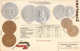 POSTKARTE MIT NATIONALFLAGGE RUPIE COURTAGE BOURSE GAUFREE EMBOSSED MÜNZE GELD NUMISMATISCHES STÜCK - Coins (pictures)