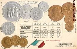 POSTKARTE MIT NATIONALFLAGGE LE FRANC FRANCAIS PIECEDE 5 FRANC EN ARGENT BOURSE GAUFREE EMBOSSED PATRIOTISME - Monnaies (représentations)