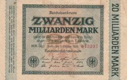 20 MILLIARDEN MARK, REICHSBANKNOTE, 1923, PAPER BANKNOTE, GERMANY. - 1918-1933: Weimarer Republik