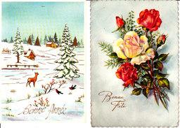 Lot De 2 Cp Format 10-15 Bonne Fête - Bonne Année Bouquets De Fleurs Paysage De Neige - Anno Nuovo