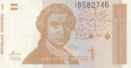 1 HRVATSKI DINAR, JEDAN DINAR, 1991, PAPER BANKNOTE, CROATIA. - Croatie