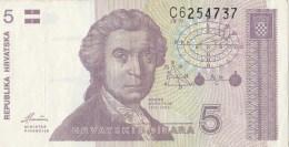 5 HRVATSKI DINAR,PET DINARA, 1991, PAPER BANKNOTE, CROATIA. - Croatie