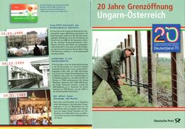 """(Gm1) 4seit. A5 Gedenkbl. """"20J.Grenzöffnung Ungarn-Österreich"""" 3-Länder Frankatur BRD,Ungarn,Österreich Mit Entspr. SSt. - History"""