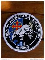 INSIGNE TISSUS PATCH GENDARMERIE NATIONALE LE PSI DU 34 BEZIERS SUR VELCRO  (MODELE COULEUR) ETAT EXCELLENT - Police & Gendarmerie