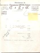 Facture -Manufacture De Chaussures LEFOUL Robert - Brodequins Travail Et Chasse Céler Combourg 35 ( 1957 ) - Ambachten