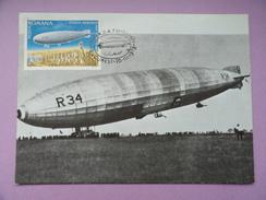 CARTE MAXIMUM CARD DIRIGEABLE R34 MARINE BRITANNIQUE  ROUMANIE - Cartoline Maximum