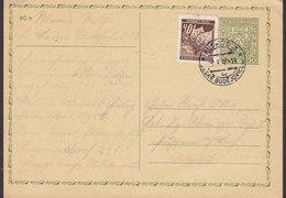 Czechoslovakia Uprated (w. Böhmen & Mähren Stamp!) Postal Stationery Ganzsache Entier BUDWEIS Budejovice 1940? (2 Scans) - Bohême & Moravie