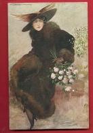 FJK-27 Illustrator T. Corbell,  Jeune Femme à Chapeau Et Manteau Fourrure   Cachet Verificato Per Censura En 1917 - Corbella, T.