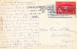 U.S.   Q 1 AS  POSTAGE  CUTTER's  SHOE  FACTORY,  EAU  CLAIRE, WIS 1913 - Brieven En Documenten