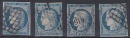 France 1849/1850 - Cérès N°4(o) - Lot De 4 Timbres - 1849-1850 Ceres