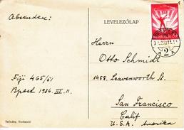 HUNGARY  TO  U.S.  POSTAL  HISTORY CARD - Airmail