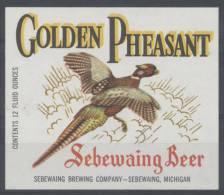 étiquette De BIÈRE SEBEWAING Faisan Doré - BEER BIER - Beer