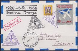 Yugoslavia 1968 Private Airmail Card - Route Beograd - Zagreb 40th Anniversary - 1945-1992 Socialist Federal Republic Of Yugoslavia