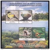 India MNH 2012, Miniature, Endemic Species Biodiversity Bird Frog Hoolock Gibbon Nicobar Megapode Begun Liocichla Tree - Unused Stamps