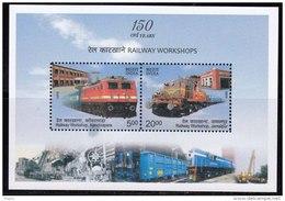 India MNH 2013, Miniature, Railway Workshop, Train, Transport,  Mounted Crane Machine, - Unused Stamps