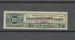 O) CARIBE, GREEN, SPECIMEN, PROOF, REVENUE-EMPRESTITO, FABRICACION Y CONSUMO VINOS AMPLIADOS-WINE CONSUMPTION AND EXPAND - Cuba