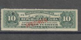 O) CARIBE, SPECIMEN, PROOF, REVENUE-EMPRESTITO, FABRICACION Y CONSUMO LICORES FUERTES-MAKING SPIRITS AND CONSUMER, AMERI - Cuba