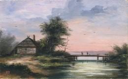 Illustrateur - Monogrammée RR - Aquarelle - Paysage - Le Pont Sur L'eau  - Daté 1914 - Aquarelles