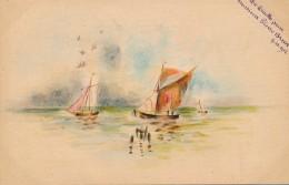 Illustrateur - Signée Linette - Aquarelle - Marine Et Bateaux - Daté 1912 - Watercolours