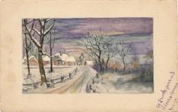 Illustrateur - Signée Linette - Gouache - Paysage De Neige - Daté 1914 - Gouaches
