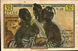 INSTITUT D'EMISSION A.O.F Et Du TOGO 50 FRANCS De 1956nd Pick 45 En  VF+/TTB+ - Togo