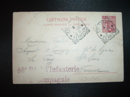 CP ITALIE FRANCE TP 10c OBL.4-1-05 TORINO à VALLAT + 86e Régt D'Infanterie 2e Compagnie + LE PUY (43 HAUTE-LOIRE) - Marcophilie (Lettres)
