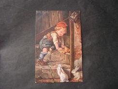 Kind , Hasen Künstler AK K.Barth Verlag Rhen Berlin * - Künstlerkarten