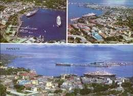 Papeete, Tahiti, Luftbild, Hafen, Schiffe Mehrbildkarte - Französisch-Polynesien
