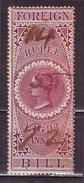 British India-Queen Victoria 1 Rupee 8 Annas 1861 Issue Foreign Bill Stamp #DIU33 - India