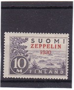 Finland, 1930 MLH (trace) Overprint Stamp, Michel 161: Zeppelin