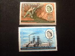 RHODESIA & NYASSALAND 1961 Mineria Y Metalurgia Yvert N º 39 / 40 * MH - Rodesia & Nyasaland (1954-1963)